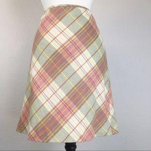 NWT LOFT Wool Blend Plaid Skirt